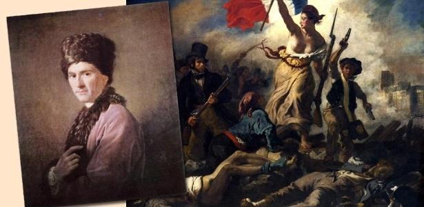 """Imagens de Jean-Jacques Rousseau e do quadro """"A Liberdade guiando o povo"""", de Delacroix"""