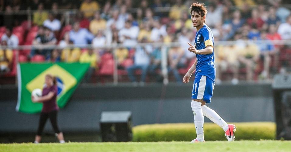 Atacante Neymar em ação no jogo da seleção brasileira contra a África do Sul