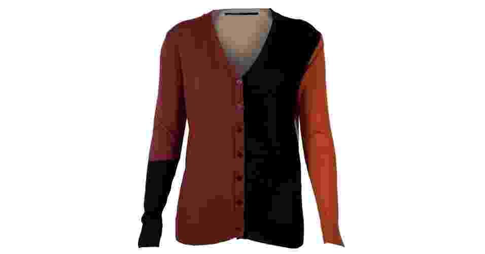 Cardigã com recortes nas cores vinho, preto e laranja da Cantão; R$ 222,90, na Dafiti (www.dafiti.com.br) Preço pesquisado em setembro de 2012 e sujeito a alterações - Divulgação