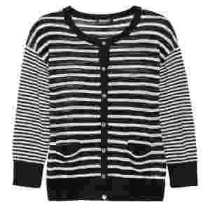 Cardigã listrado preto e branco da DKNY; R$ 456, na Net-a-Porter (www.netaporter.com) Preço pesquisado em setembro de 2012 e sujeito a alterações - Divulgação