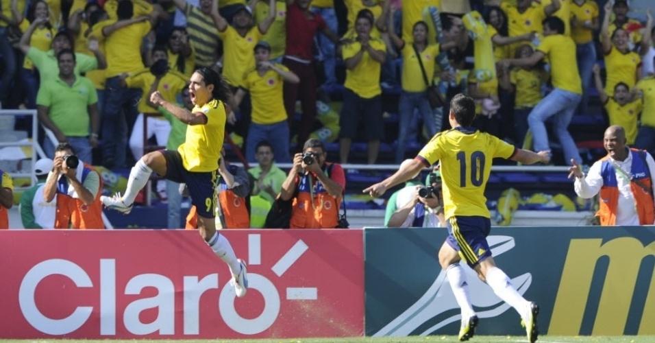 07.set.2012 - Falcao García comemora depois de marcar um dos gols na goleada da Colômbia por 4 a 0 diante do Uruguai pelas eliminatórias da Copa-2014