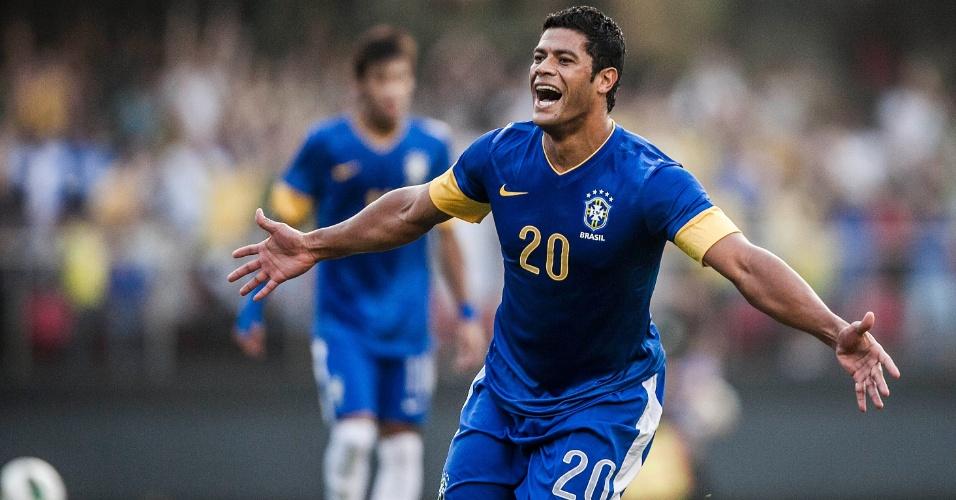 Hulk celebra após balançar a rede no Morumbi no amistoso do Brasil contra a África do Sul