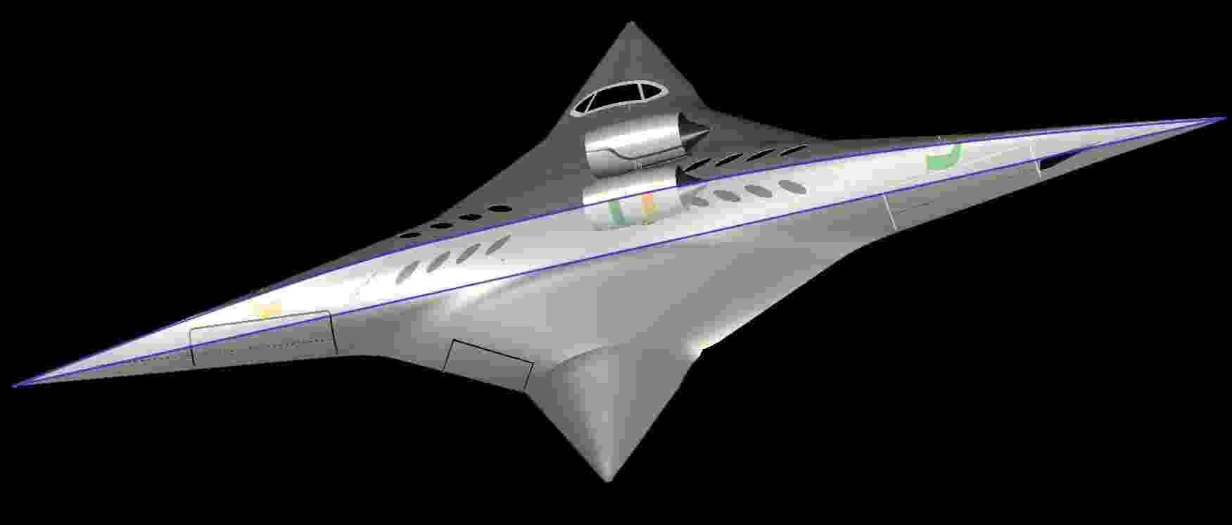 Cientistas americanos trabalham no projeto de um avião que, com uma forma parecida a uma estrela ninja, pode girar 90 graus no ar para voar de lado e alcançar assim velocidades supersônicas capazes de fazer o trajeto Nova York-Tóquio em quatro horas - Universidade de Miami/ Efe