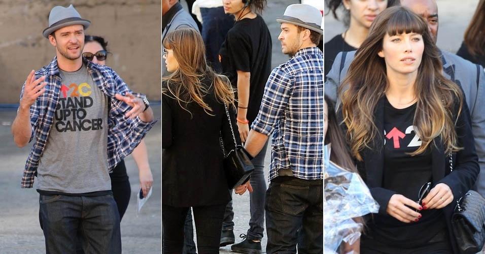 O ator Justim Timberlake foi visto chegando a um evento de mãos dadas com a namorada, a atiz Jessica Biel. O casal participou junto com outras celebridades de um show em prol de vítimas de câncer (9/9/12)