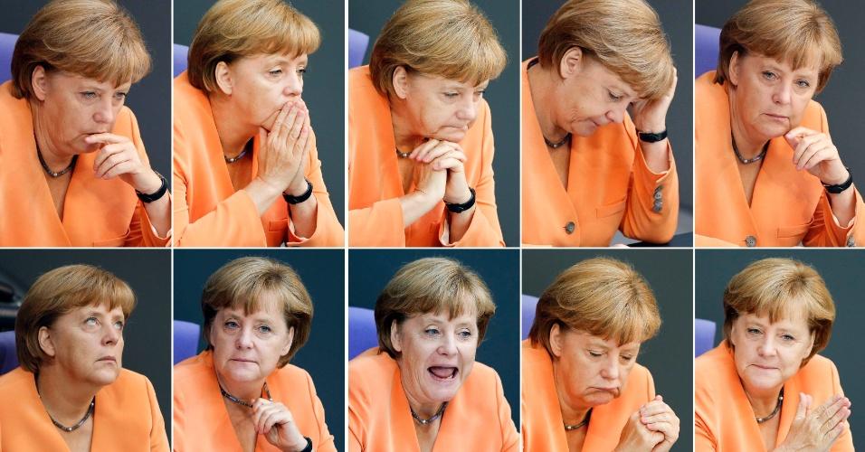 11.set.2012 - Combinação de fotos mostra a chanceler alemã, Angela Merkel, fazendo caras e bocas durante sessão no Parlamento de Bundestag, em Berlim, na Alemanha
