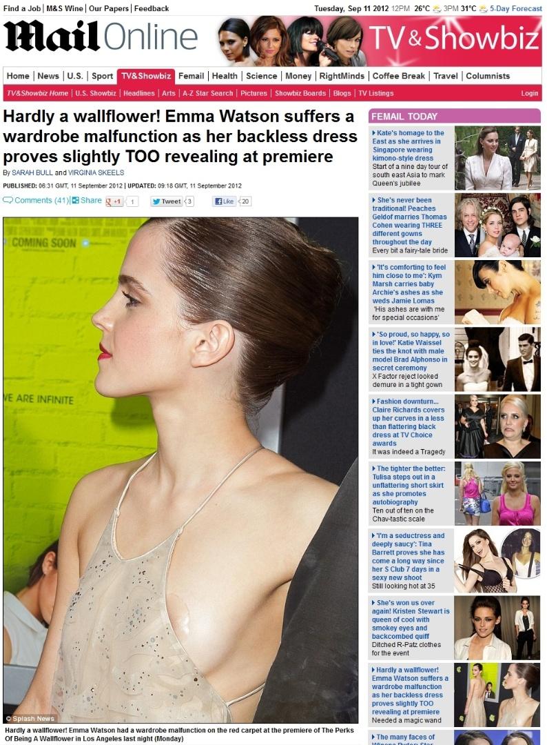 Emma Watson deixa o sutiã à mostra em pré-estreia (10/9/12)