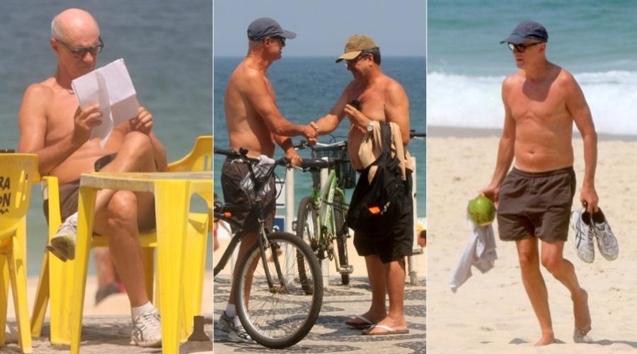 """No ar em """"Avenida Brasil"""", Marcos Caruso aproveitou o dia para curtir a praia do Leblon, na zona sul do Rio (11/9/12)"""