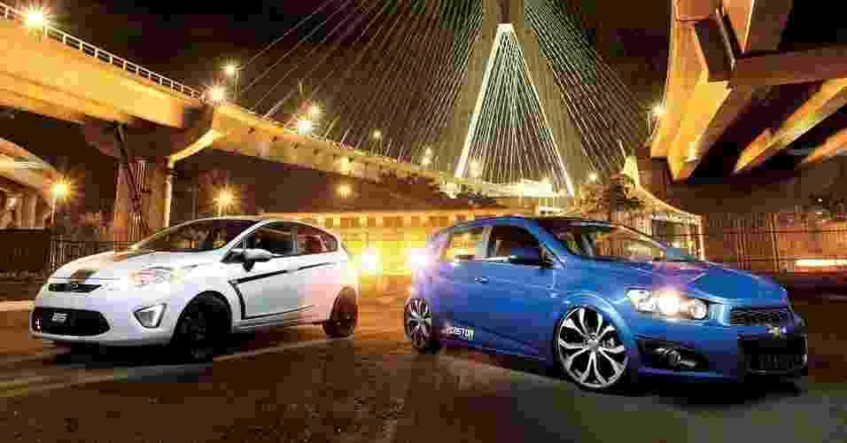 Ford New Fiesta e Chevrolet Sonic têm ótimas bases para modificações - João Mantovani e Marcos Camargo/Fullpower