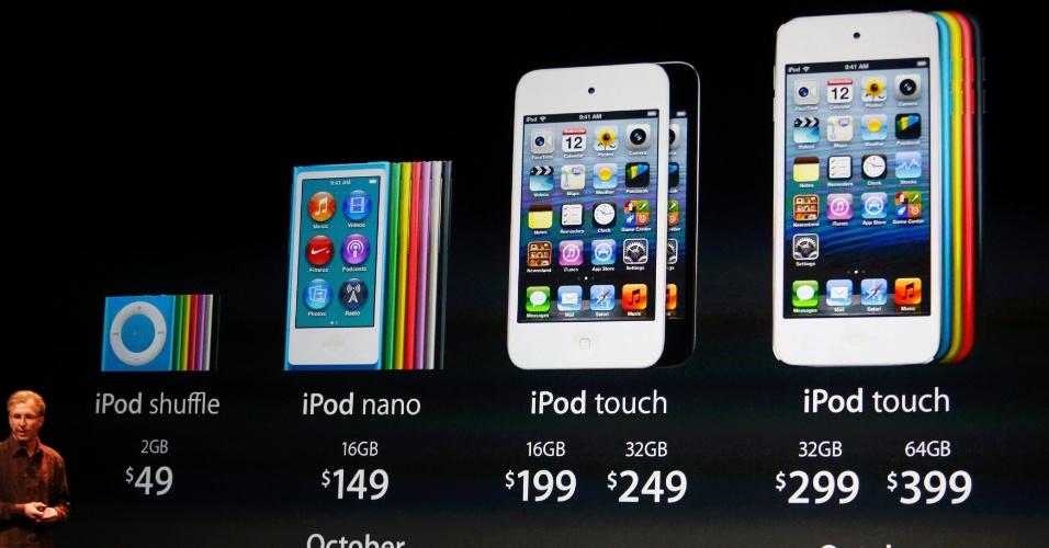Linha de produtos apresentados pela Apple no evento na Califórnia, Estados Unidos, nesta quarta-feira (12)-