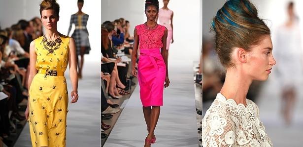 Looks desfilados por Oscar de La Renta para o Verão 2013 na semana de moda de Nova York (11/09/2012) - Getty Images