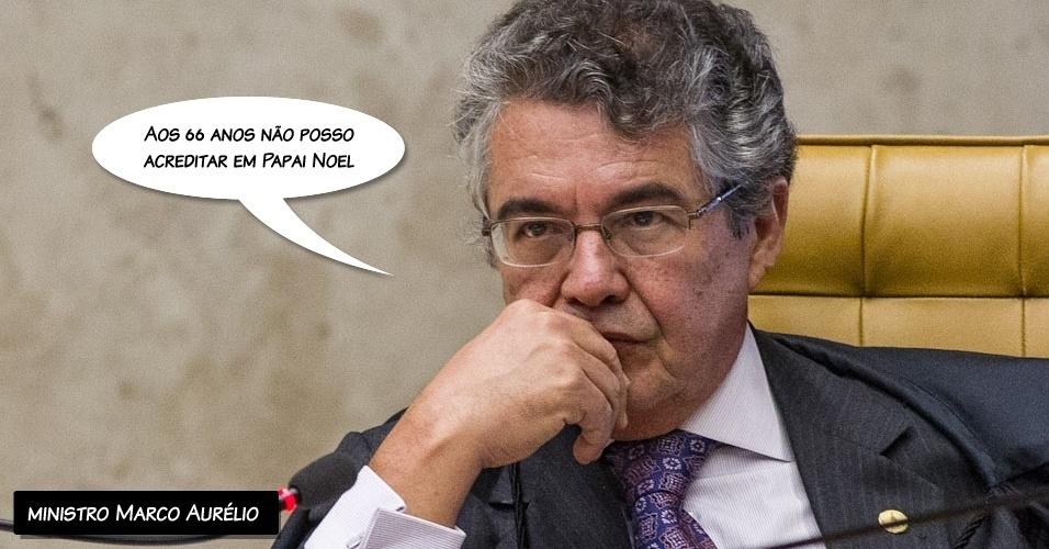 """13.set.2012 - """"Aos 66 anos, não posso acreditar em Papai Noel"""", afirmou o ministro Marco Aurélio ao condenar a ré Geiza Dias por envolvimento no crime de lavagem de dinheiro"""