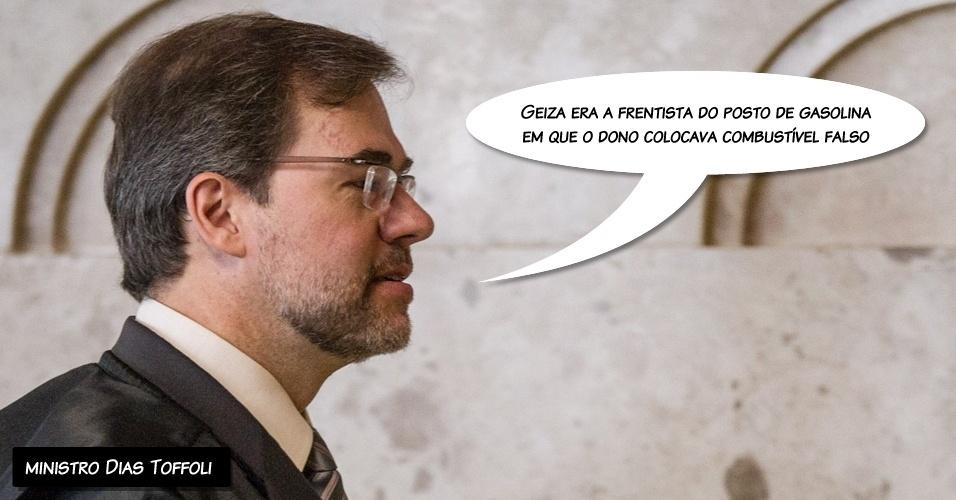 """13.set.2012 - """"Geiza era a frentista do posto de gasolina em que o dono colocava combustível falso"""", alegou o ministro Dias Toffoli ao absolver Geiza Dias"""