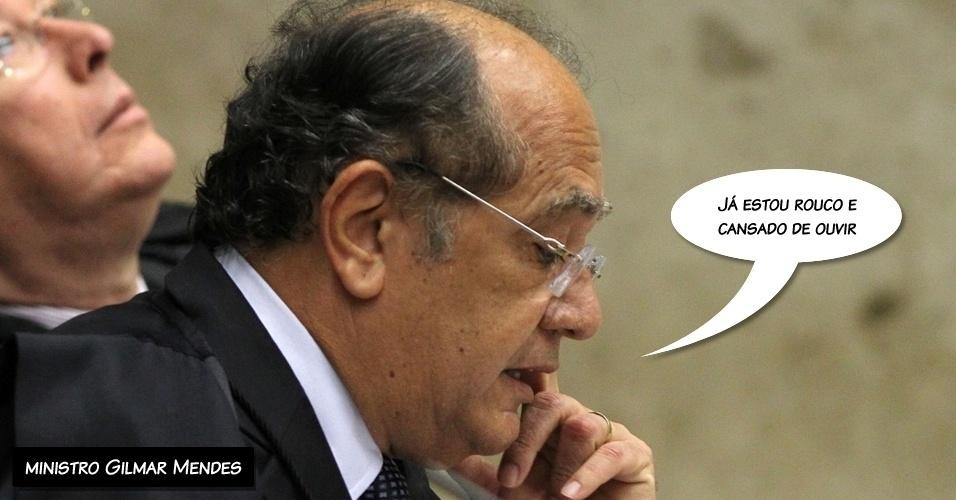 """13.set.2012 - """"Já estou rouco e cansado de ouvir"""", disse o ministro Gilmar Mendes ao começar seu voto depois de mais de quatro horas de julgamento sem intervalo"""