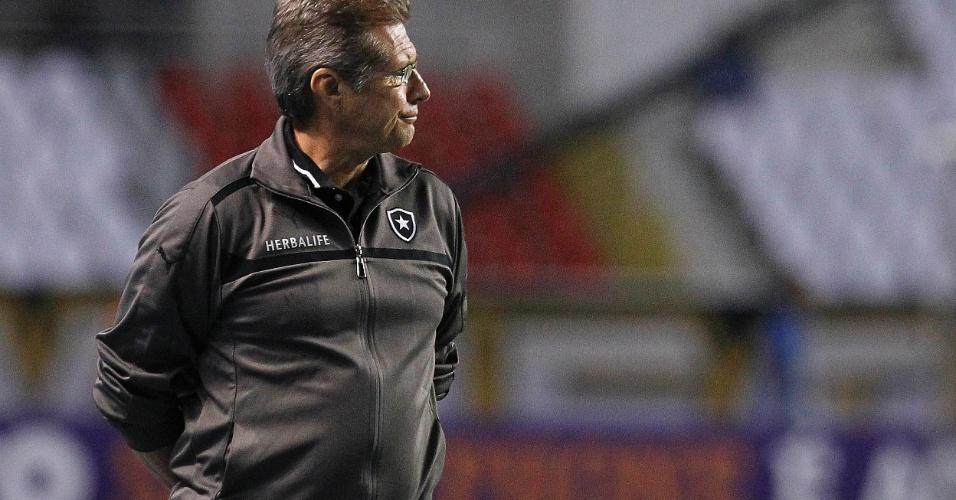 Oswaldo de Oliveira observa a partida do Botafogo contra o Internacional, no Engenhão