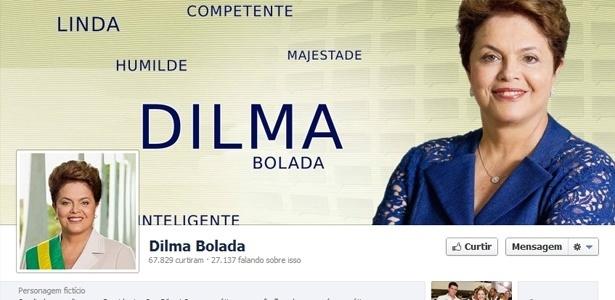 """Capa da fan page da """"Dilma Bolada"""" no Facebook; falsa presidente também tem perfil no Twitter"""