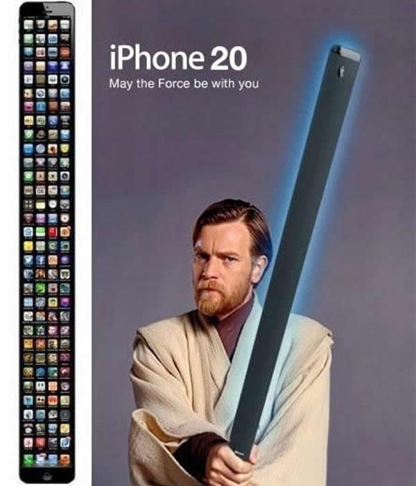 Com uma aparência mais alongada que o iPhone 4S, o iPhone 5 virou alvo de piadas sobre seu comprimento avantajado. Aqui, o iPhone 30 virou sabre do Obi-Wan Kenobi de Guerra nas Estrelas. Justo...