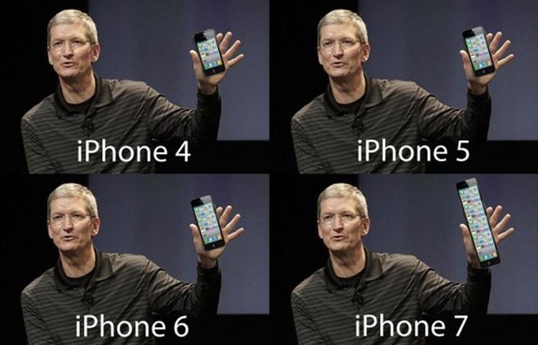 Com uma aparência mais alongada que o iPhone 4S, o iPhone 5 virou alvo de piadas sobre seu comprimento avantajado. Aqui, Tim Cook, diretor-executivo da Apple, mostra as próximas gerações do iPhone