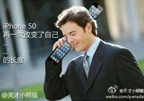 Com uma aparência mais alongada que o iPhone 4S, o iPhone 5 virou alvo de piadas sobre seu comprimento avantajado. Aqui, uma sugestão para o iPhone 50