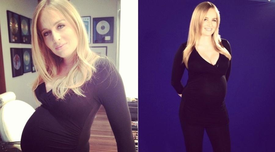 Grávida de nove meses, Angélica divulgou imagens nos bastidores de um trabalho (14/9/12)