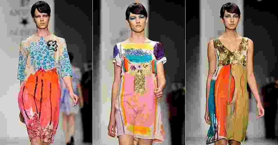 Looks de Antoni & Alison para o Verão 2013 desfilados na semana de moda de Londres (14/09/2012) - Getty Images