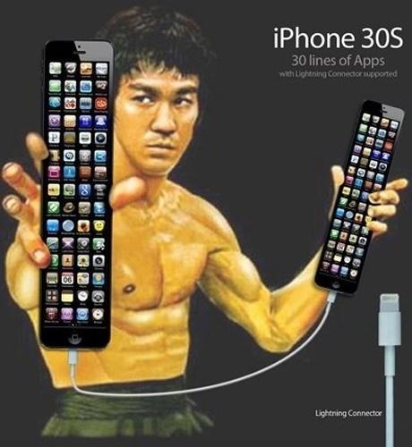 Sugestão para a Apple quando for lançar o iPhone 30S, com direito a Bruce Lee de garoto-propaganda
