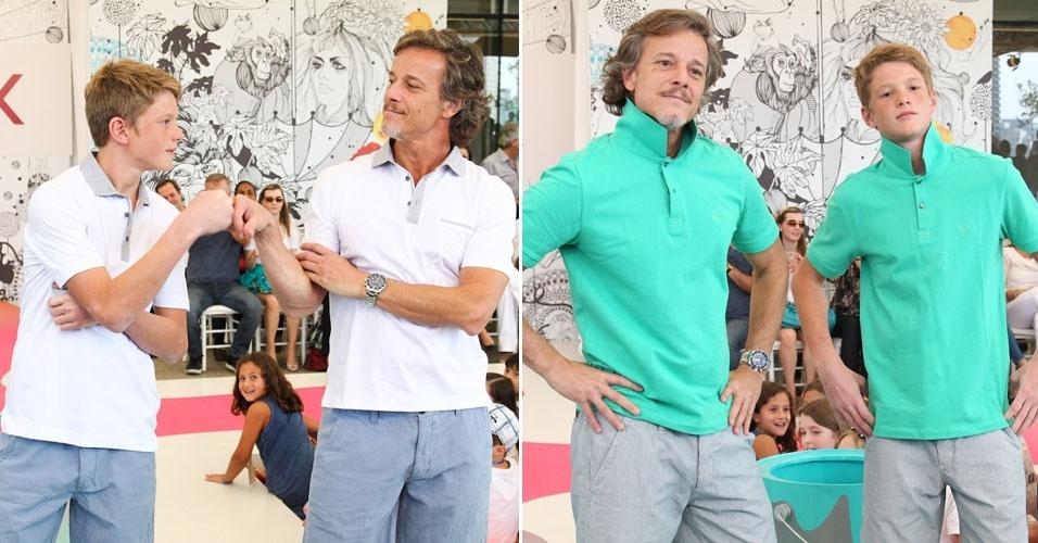 Marcello Novaes desfila com o filho Pedro na Fashion Weekend Kids, em São Paulo (16/9/12)