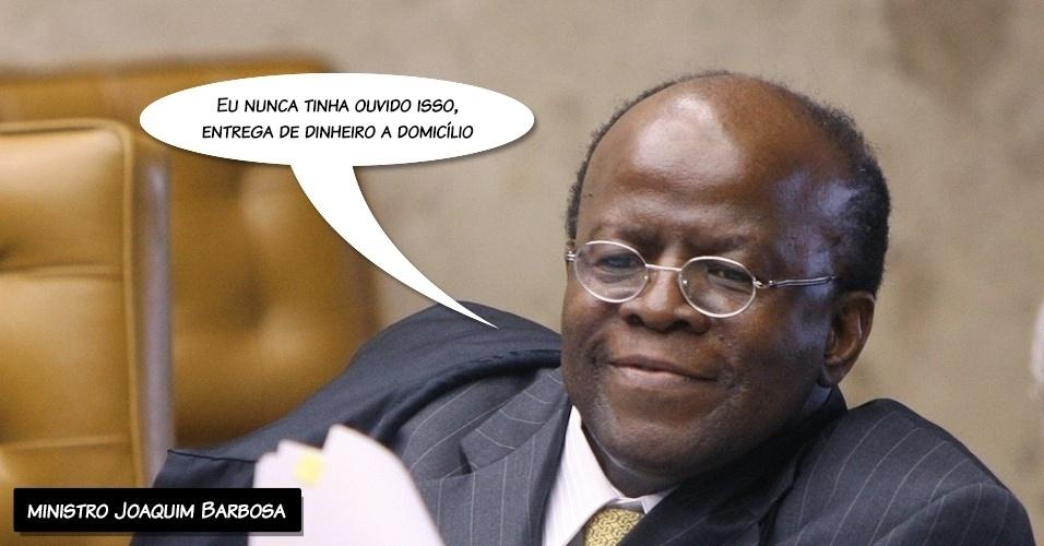 """17.set.2012 - """"Eu nunca tinha ouvido isso, entrega de dinheiro a domicílio"""", afirmou o ministro Joaquim Barbosa ao ler seu voto sobre os réus do mensalão ligados ao PP"""