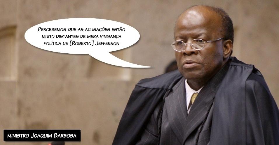 """17.set.2012 - """"Percebemos que as acusações estão muito distantes de mera vingança política de [Roberto] Jefferson"""", disse o ministro Joaquim Barbosa ao comentar a denúncia de Jefferson sobre o esquema do mensalão"""