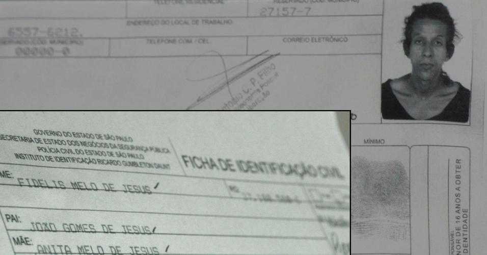 17.set.2012 - Policiais do 77º DP (Santa Cecília) divulgaram o documento do suspeito de começar um incêndio na favela do Moinho, na região central de São Paulo (SP), nesta segunda-feira (17). O acusado Fidelis Melo de Jesus se desentendeu com seu parceiro Damião de Melo e ateou fogo no barraco, dando início ao incêndio que casou a morte de Damião. Fidelis está preso e responderá por homicídio qualificado e incêndio