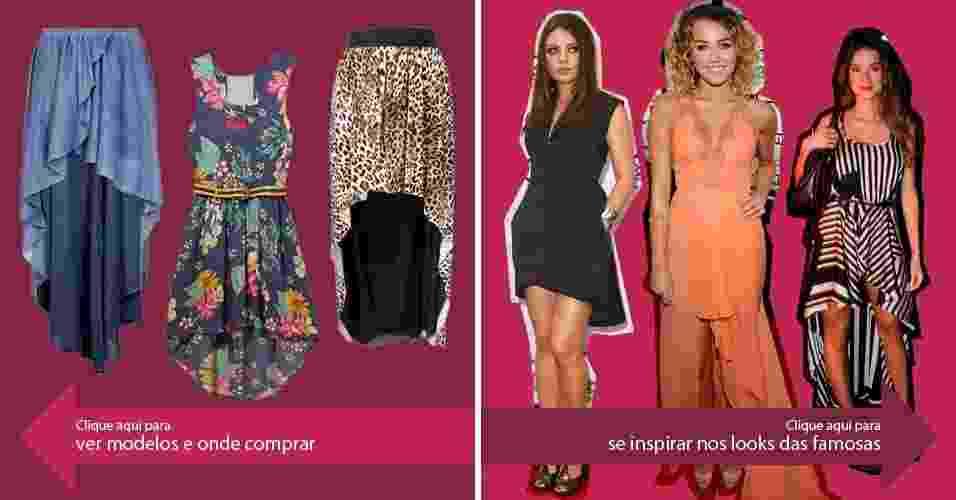 Clique na seta da esquerda para ver modelos de saias mullet e na da direita para se inspirar nos looks das famosas - Divulgação/Agnews/Getty Images