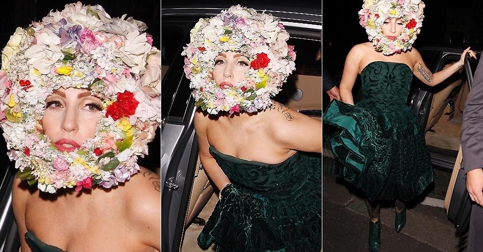 Lady Gaga usa chapéu de flores ao chegar ao London Fashion Week (16/9/12)
