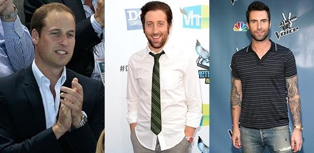 """Os relógios clássicos, de pulseira prateada ou dourada, podem ser usados com trajes formais ou casuais, como mostram o príncipe William, de Gales, o ator Simon Helberg, da série """"Big Bang Theory"""", e o cantor Adam Levine, da banda Marron 5 - Getty Images"""