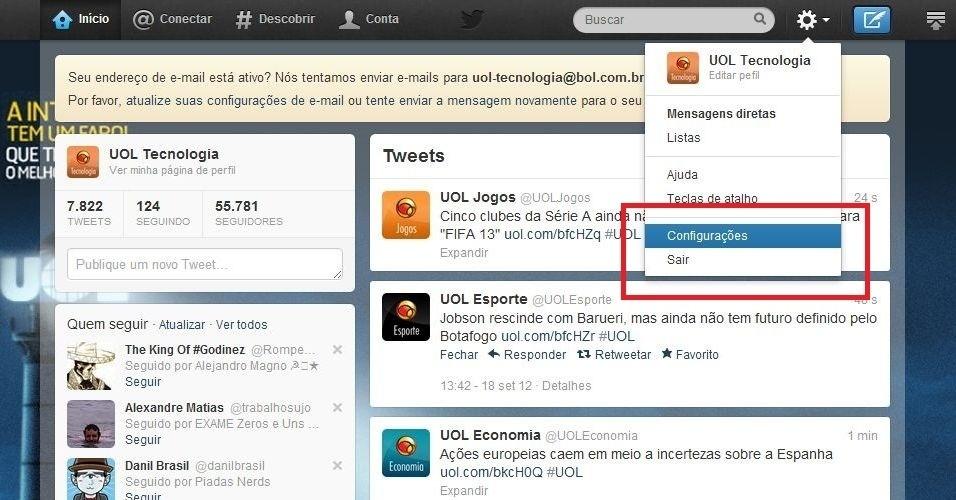 """1. Depois de fazer o login na página do Twitter, clique no botão redondo e selecione """"Configurações"""""""