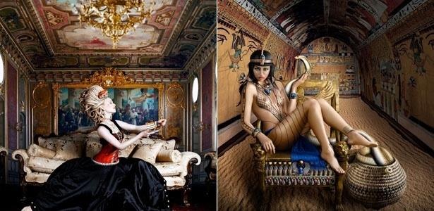 """Maria Antonieta e Cleópatra recriadas pela fotógrafa australiana Alexia Sinclair no ensaio fotográfico """"as doze rainhas"""""""