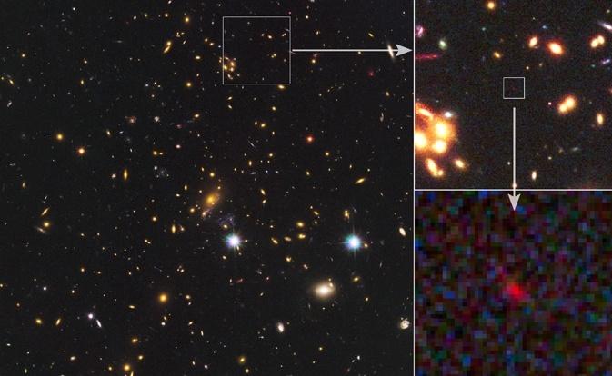 19.set.2012 - O telescópio espacial Hubble fotografou a galáxia considerada a mais distante já observada, uma viagem no tempo de 13,2 bilhões de anos-luz, quando o nosso universo tinha apenas 480 milhões de anos