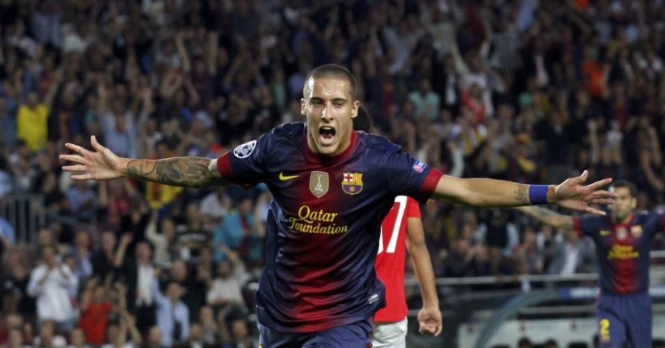 Christian Tello comemora gol marcado na partida do Barcelona contra o Spartak Moscow