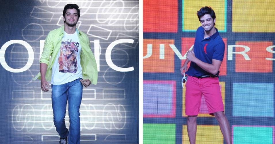 """O ator Rodrigo Simas desfila na Semana da Moda do Internacional Shopping Guarulhos. O ator comentou sobre a vitória do programa """"Dança dos Famosos"""": """"O samba foi o que me salvou"""" (19/9/12)"""