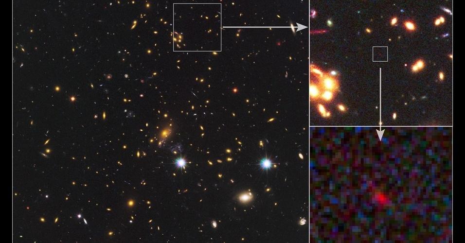 20.set.2012 - Cientistas conseguiram observar uma galáxia distante que remonta a 500 milhões de anos após o Big Bang, explosão que deu origem ao Universo. Para identificar a gaáxia, os astrônomos usaram a câmera do Hubble e a teoria da relatividade de Albert Einstein que afirma que objetos muito maciços têm um campo gravitacional tão forte que conseguem desviar os raios luminosos que passam próximos
