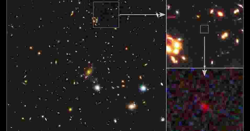20.set.2012 - Cientistas conseguiram observar uma galáxia distante que remonta a 500 milhões de anos após o Big Bang, explosão que deu origem ao Universo. Para identificar a gaáxia, os astrônomos usaram a câmera do Hubble e a teoria da relatividade de Albert Einstein que afirma que objetos muito maciços têm um campo gravitacional tão forte que conseguem desviar os raios luminosos que passam próximos - Nasa