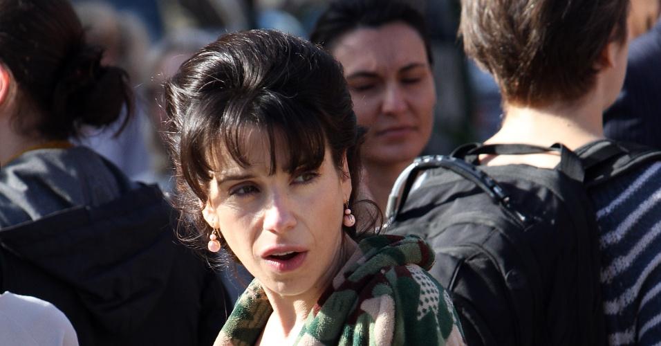 A atriz Sally Hawkins durante as filmagens do novo filme do diretor Woody Allen,