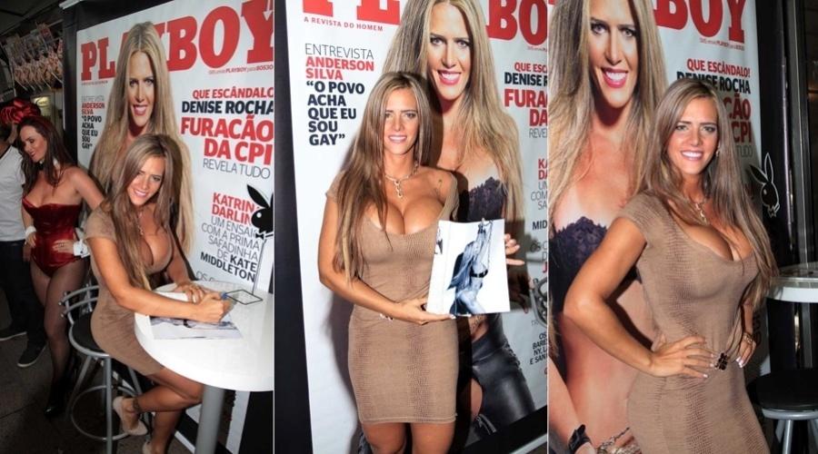 """A ex-assessora parlamentar Denise Rocha autografou exemplares de sua """"Playboy"""" em uma banca na rua Oscar Freire, em São Paulo (20/9/12)"""
