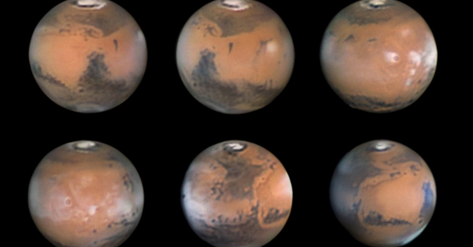 """Essa sequência de fotografias de Marte, ao longo do mês de março de 2012, garantiu a Damian Peach, da Grã-Bretanha, o segundo prêmio na categoria """"Nosso Sistema Solar"""". É possível ver o polo norte congelado e vários detalhes do solo marciano"""