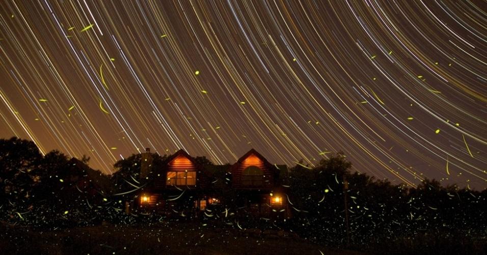 Esta imagem de longa exposição de Michael A. Rosinski, dos Estados Unidos, contrasta os arcos formados pelas estrelas com o caótico voo de vagalumes, mais abaixo. A foto foi tirada em Michigan e mostra de uma só vez a luz das estrelas, da cidade e de vagalumes