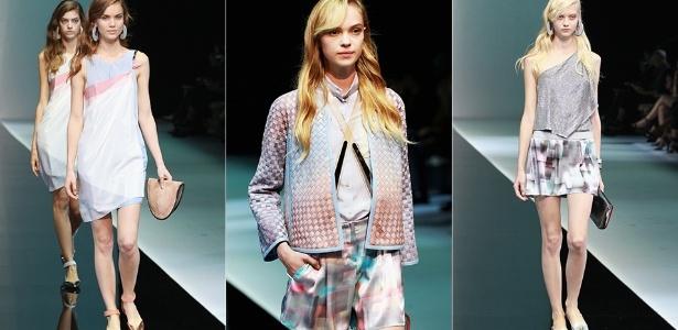 Looks de Emporio Armani para o Verão 2013 desfilados durante a semana de moda de Milão (20/09/2012) - Getty Images