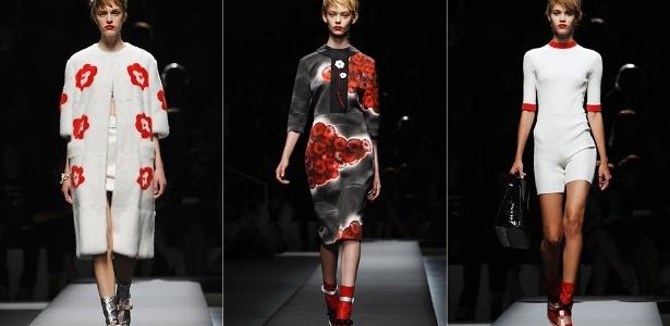 Modelos apresentam looks da Prada para o Verão 2013 durante a semana de moda de Milão (20/09/2012) - Alessandro Garofalo/Reuters