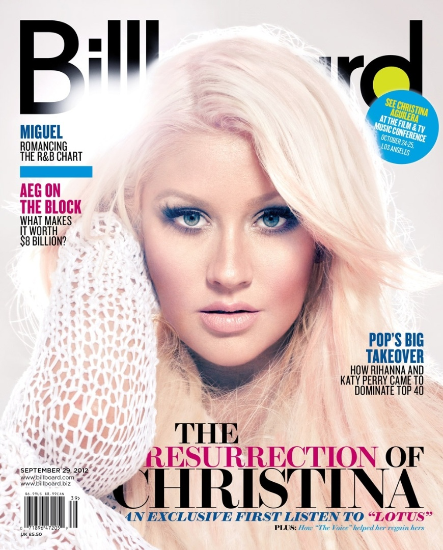"Christina Aguilera na capa da revista ""Billboard"" (set/12)"
