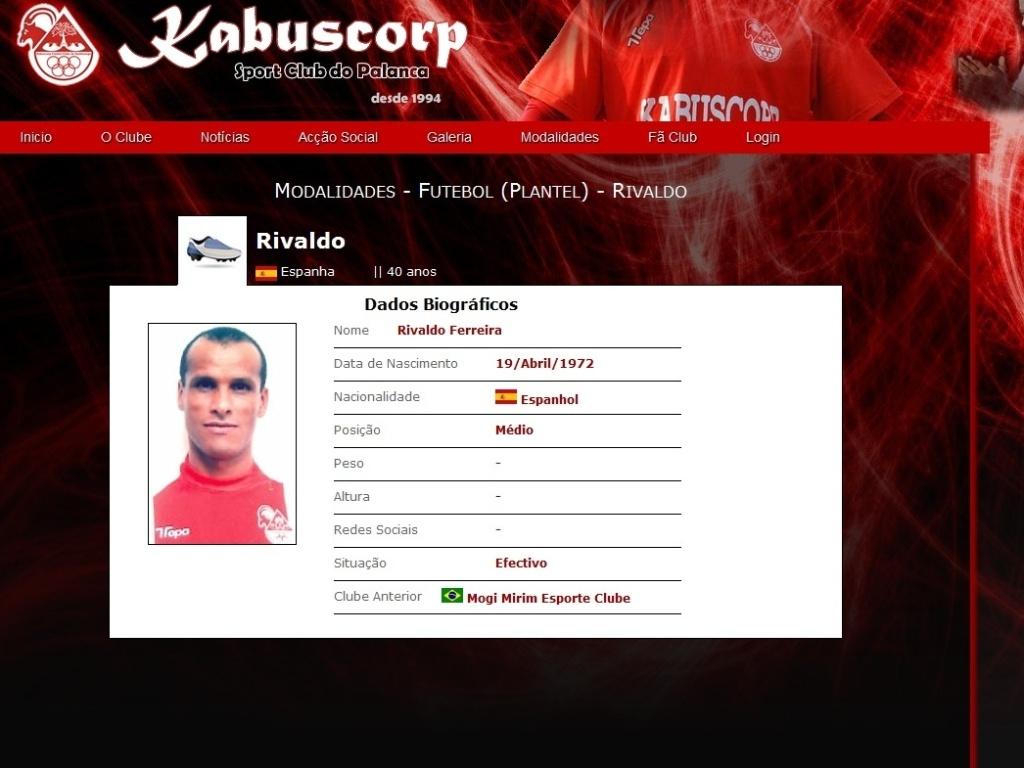 Imagem do site do clube angolano Kabuscorp onde atua Rivaldo