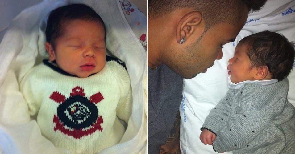 O jogador Dentinho publicou fotos do filho recém-nascido Bruno Lucas em seu Twitter (21/9/12)