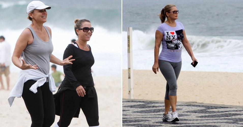 As atrizes Giulia Gam e Vera Fischer caminham pela orla da praia no Rio de Janeiro (22/9/12)