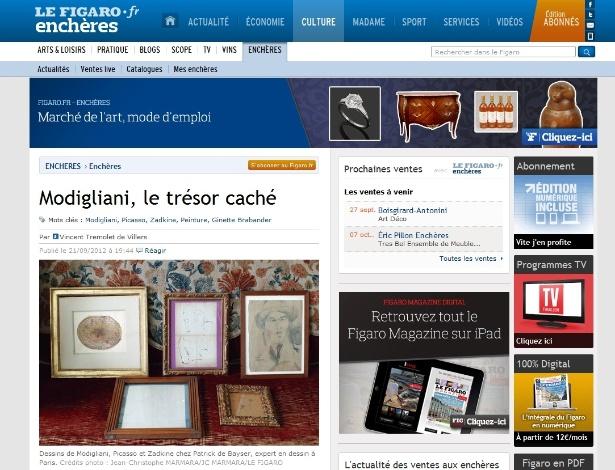 """Jornal francês """"Le Figaro"""" publica foto de obras inéditas de Modigliani e de Picasso descobertas na França (21/9/12) - Reprodução/LeFigaro"""
